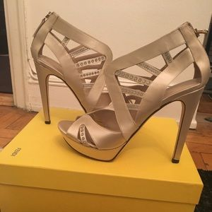 Fendi Ivory Crystal Sandals